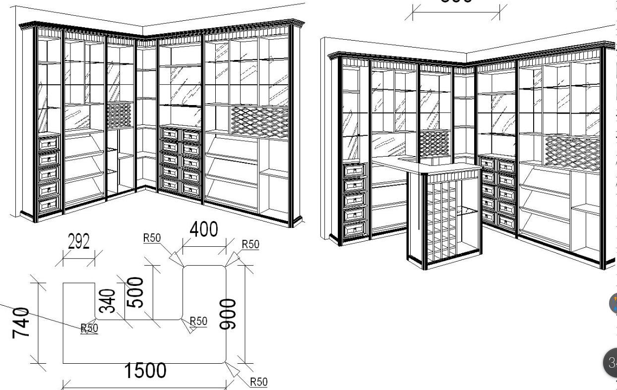 谁有定制衣柜三维立体图画法教程 我愿意出钱买图片