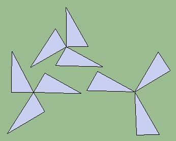 以一直角三角形为基本图形,可以通过旋转,得到几种风车风轮图案图片