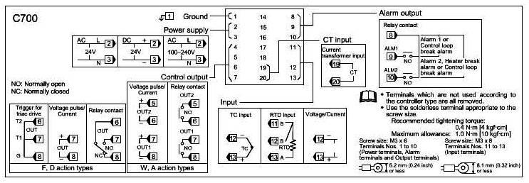 rex-c700温度控制器5.6.7脚怎样接线