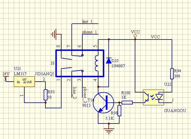继电器控制发光二极管的原理图和接线图