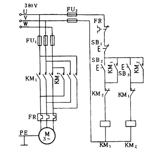 带机械电气互锁的正反转控制电路. 求电路图