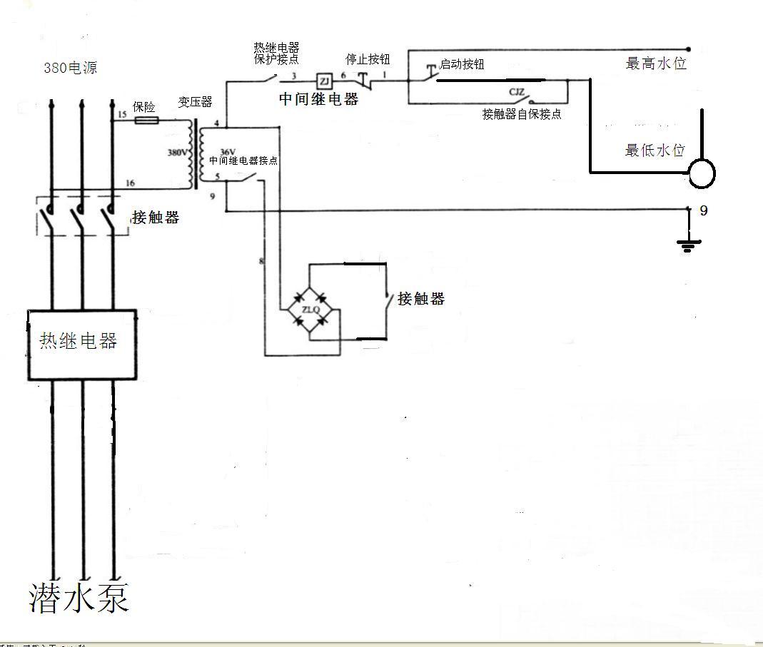 能给我自动抽水泵的接线图吗? 有接触器,热继电器,,换