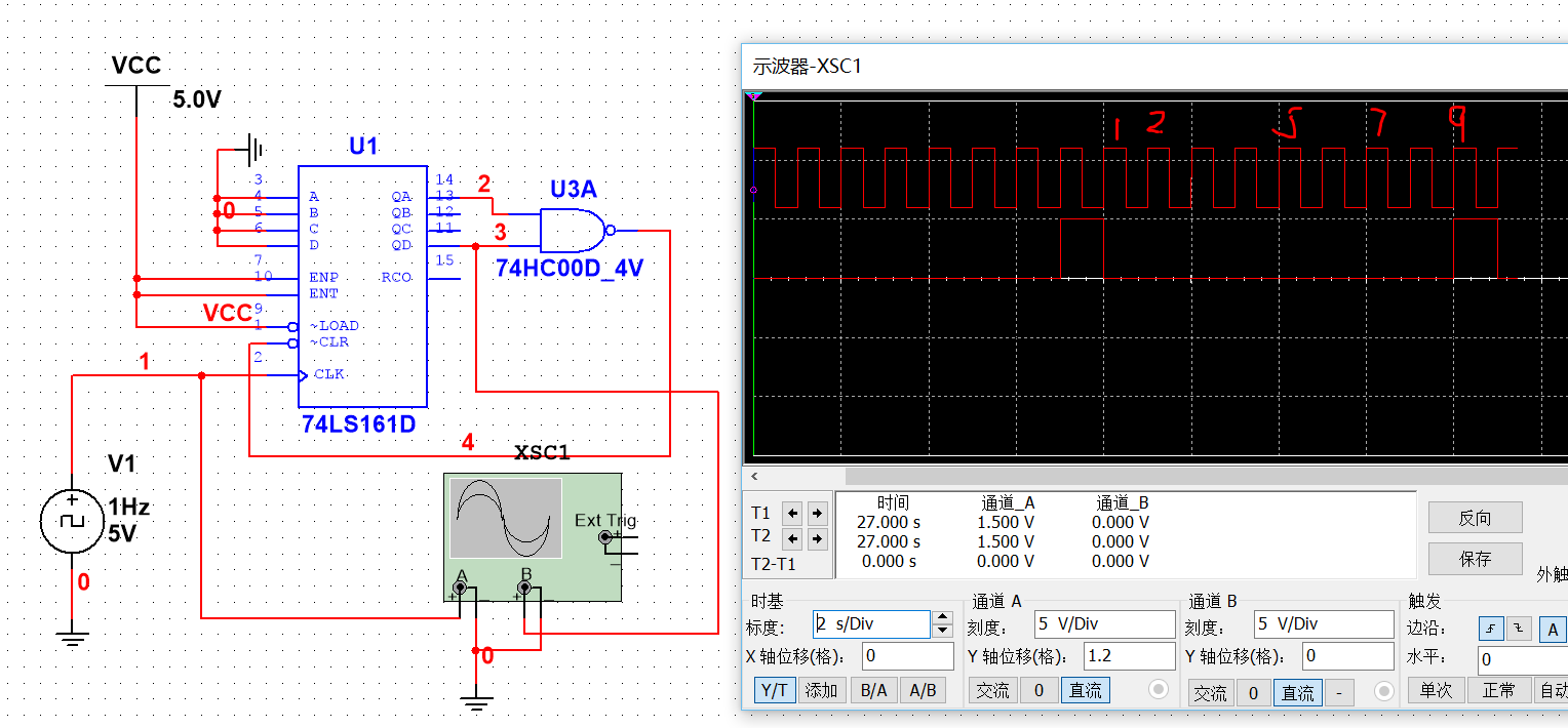 用74161集成计数器设计9进制加计数器,要完整电路图