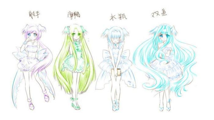 十二星座手绘动漫少女图带颜色
