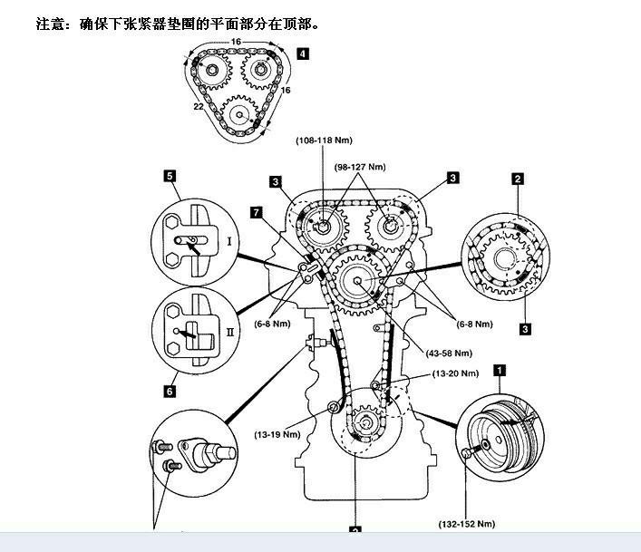 你好  尼桑d22皮卡k24发动机正时图如下【汽车问题,问汽车大师.