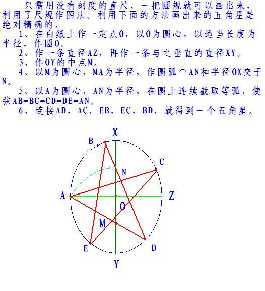 怎么用圆规和尺子做出一个五角星?急!