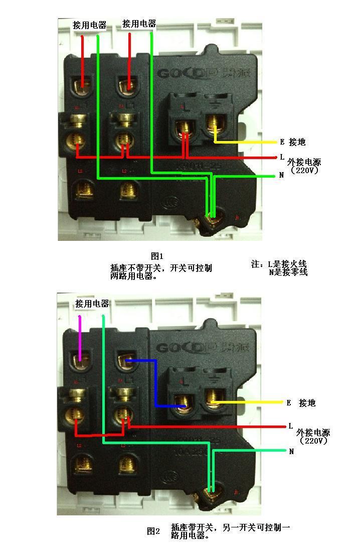 家里有个2开5孔插座,但不知道怎么接线,有图,请详细说明怎么接,在图上