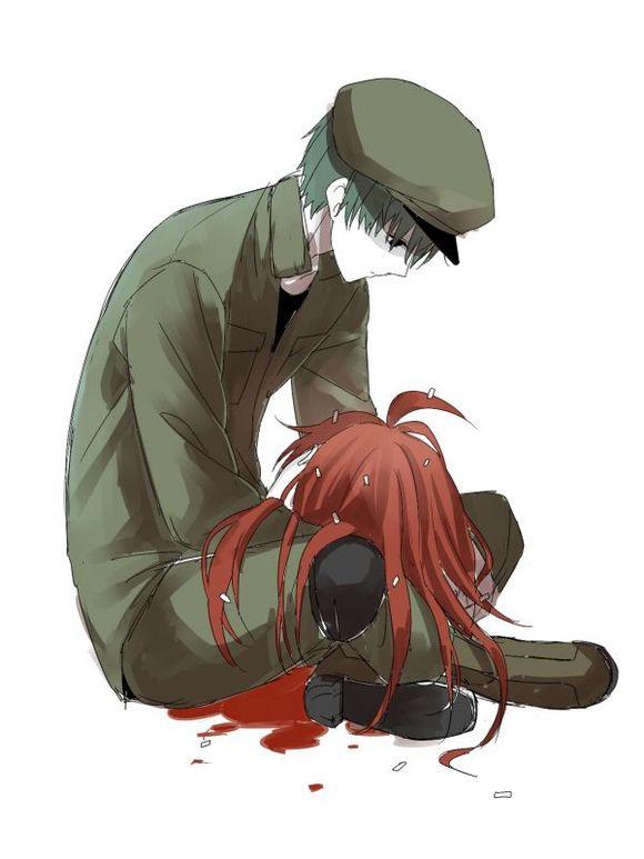 伤感的动漫图片,最好有带血.