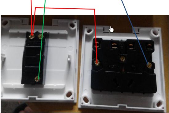 红色为输入火线,蓝色为输入零线,绿色为过了开关输出到灯头的线.