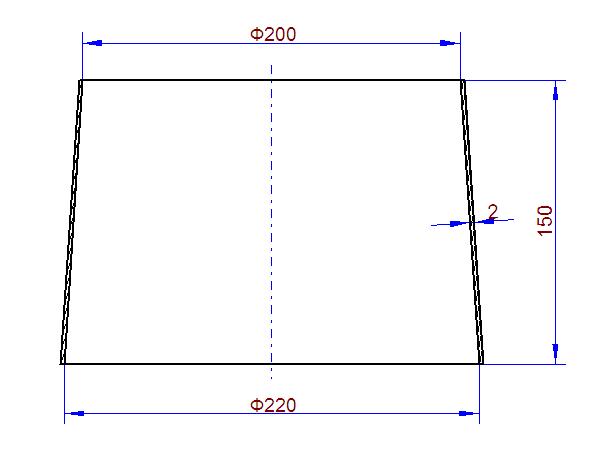 铆工圆台上d200下d220怎么放样