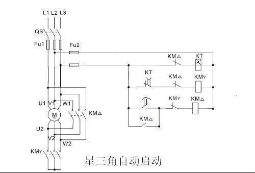 追问 两个交流接触器星角启动时间继电器控制线路接线图,用两个交流