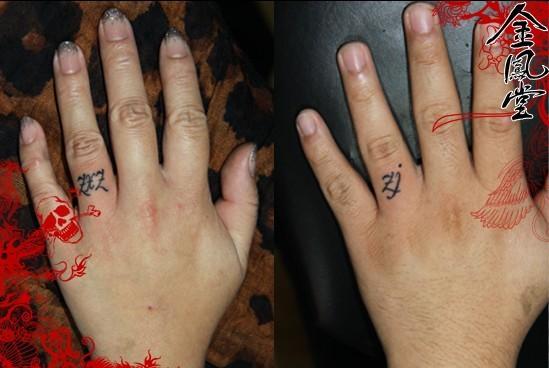 手绘jyx字母图片,手指纹身