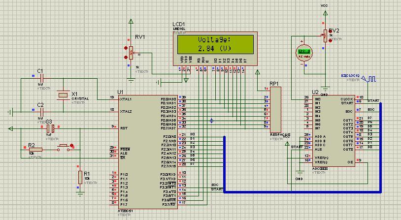 简易数字电压表设计的protel原理图 proteus仿真图 谁