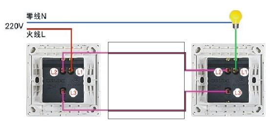 电灯双控开关怎么接线,要用几根线,给过图案参考一下