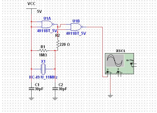 网上抄的正弦发生电路,石英晶振的,但是multisim仿真一直是5v,为什么