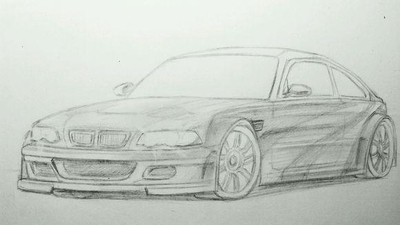 宝马车,简单的素描画.