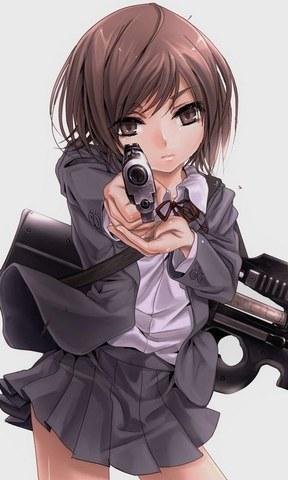 求一张手机壁纸,要求:卡通动漫女角色,长发飘飘,拿着武器看起来很霸
