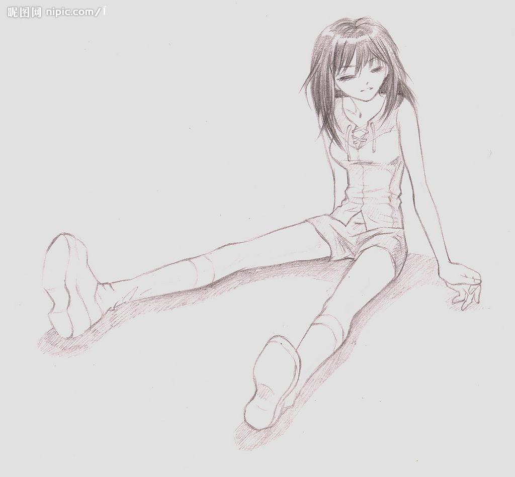手绘画女孩简单图片