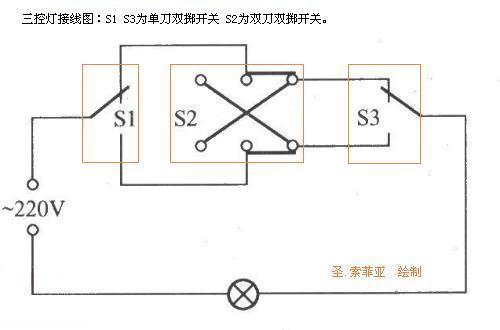 三个开关控制一个灯的接线图