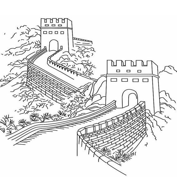 关于长城的画,长城简笔画图片大全,长城的画法简单素材.