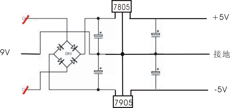 有双9v变压器,请使用7805和7905设计典型的双5v电源.