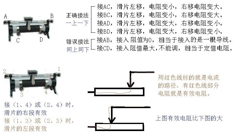 实物图中怎么看滑动变阻器阻值变大变小?