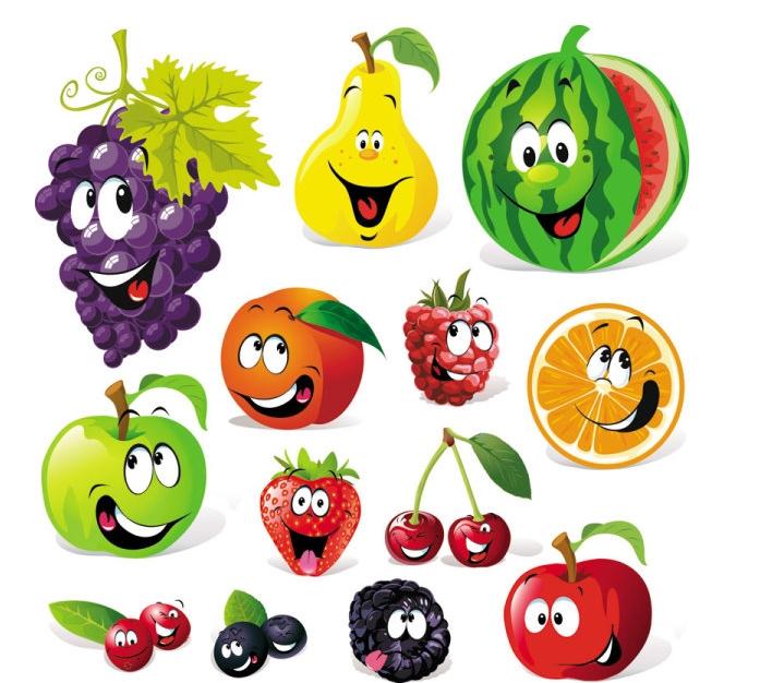 手绘图彩色水果