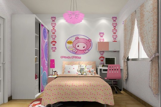 粉色儿童房效果图 儿童房窗帘效果图 儿童房手绘效果图 儿童房设计