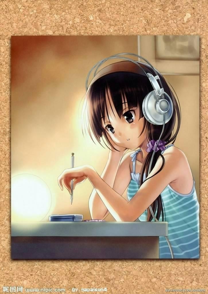 求一张图片:一个动漫女孩,侧面仰头带耳机听歌的图片