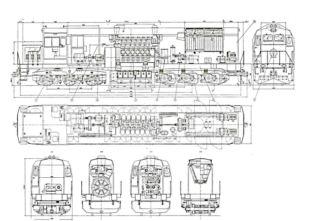 电传动内燃机车结构示意图