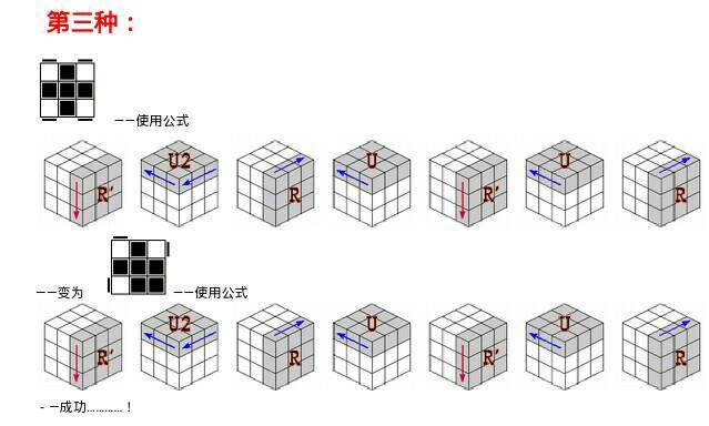 求三阶魔方第三层的步骤,如上左,下右,有时候第三层顶