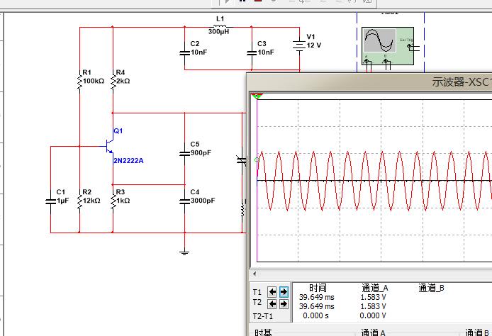 multisim 做的克拉波震荡电路,要求得到100khz,电压为