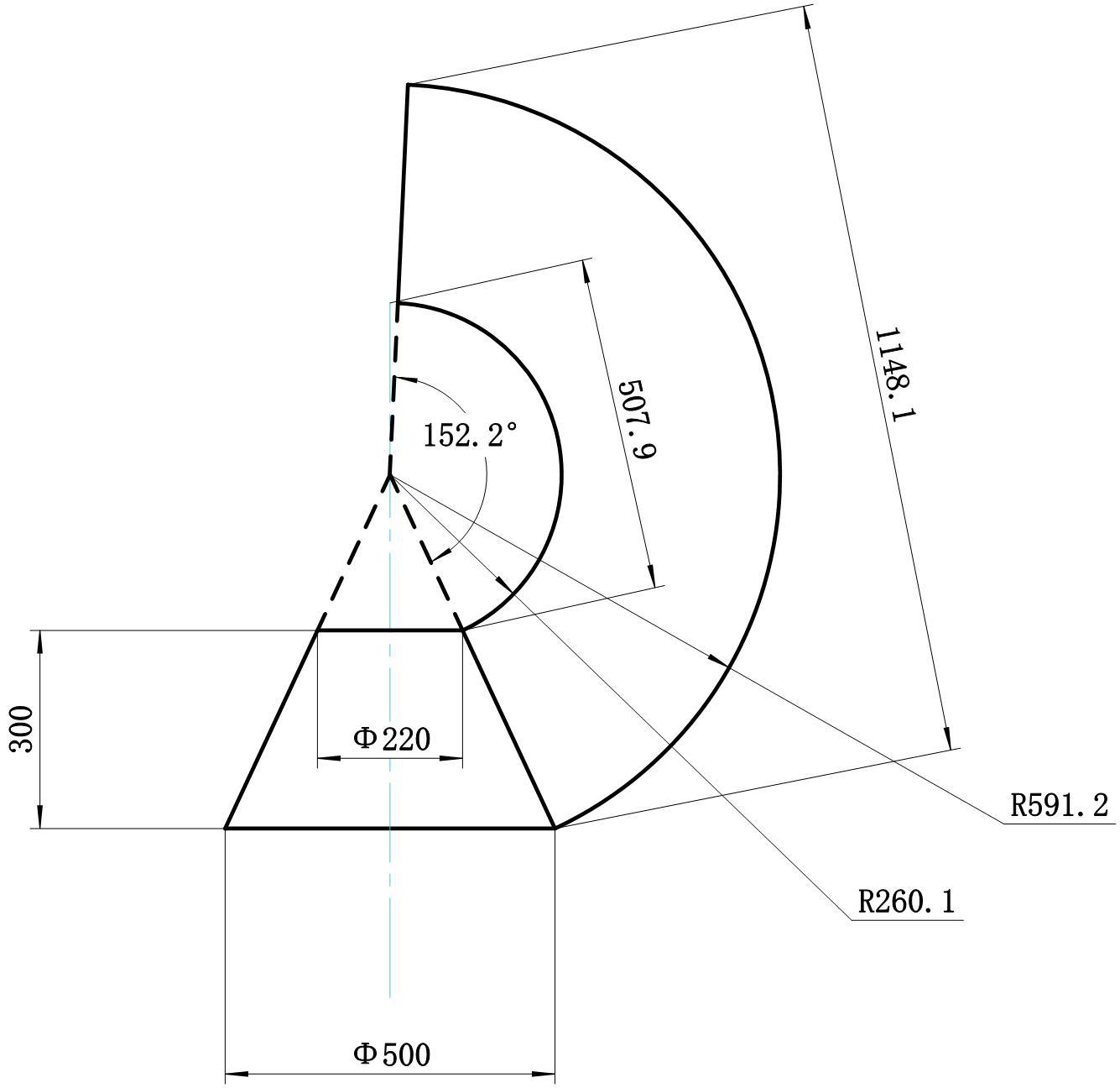 圆锥体展开图的画法