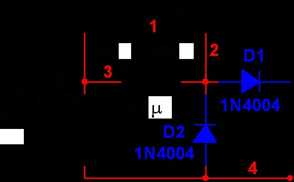 电容降压220v变12v直流电路图