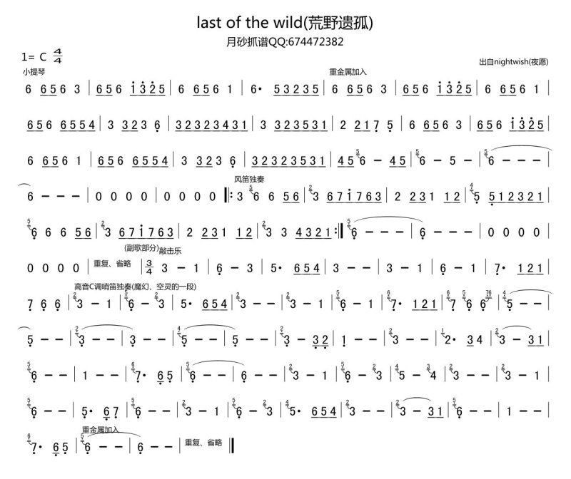 last of the wilds 的笛子部分简谱