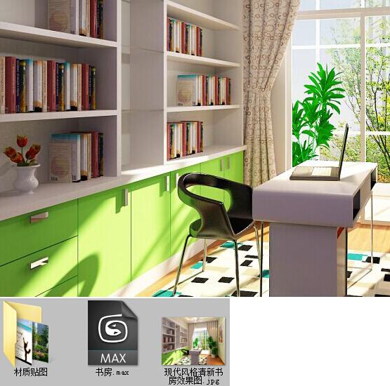 cad简略设计 书房 平面布置图 书桌三视图 书柜三视图