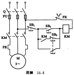 中级电工 点动-连续控制接线电路图