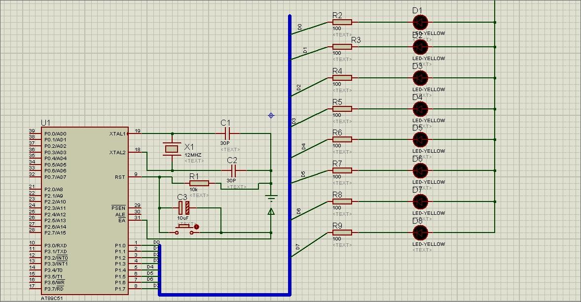 在proteus流水灯的复位电路怎么实现