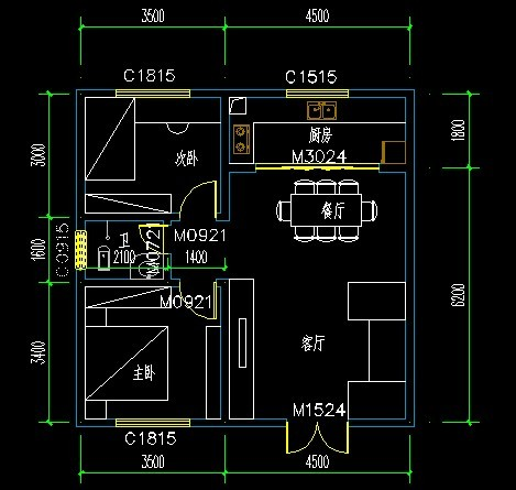 农村自建房面积8米乘8米,房屋内的格局怎么设计?要求图片