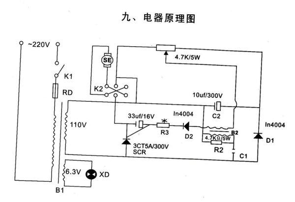 这是个直流电机,可正反转,可控硅调速,请问图中r2,c1和b2的作用是什么