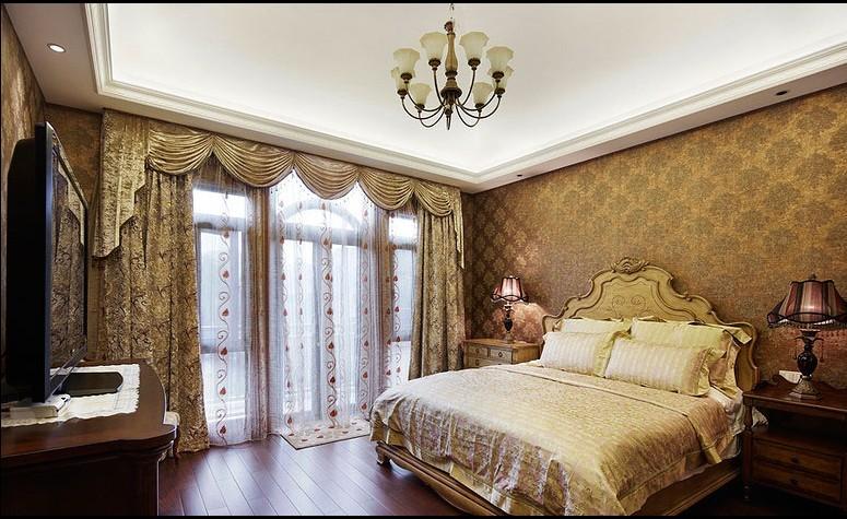 卧室家具是深红色,地板是黄色的,不知道用什么颜色的窗帘