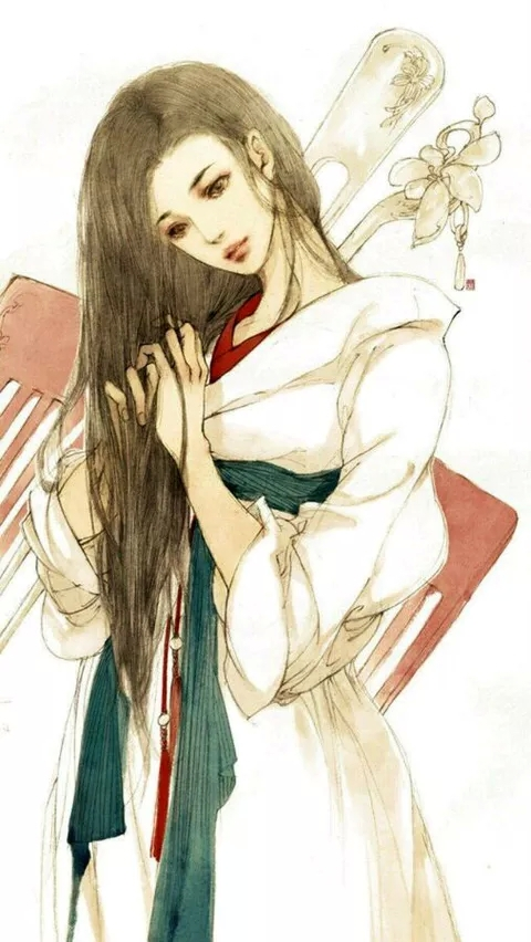 古风白衣女子手绘