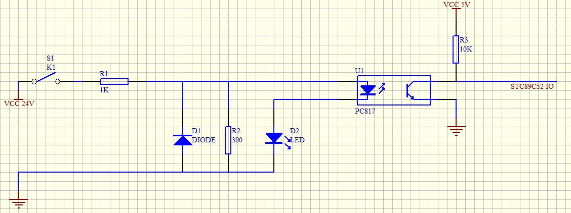 单片机通过光耦隔离检测开关信号