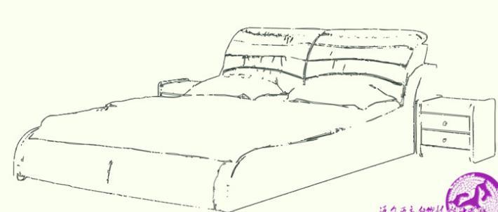 手绘平面床图片大全
