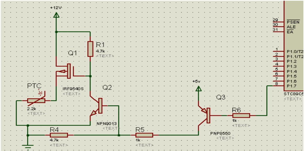 利用场效应管做直流开关,用于恒温箱里电加热器的控制,求电路图分析.