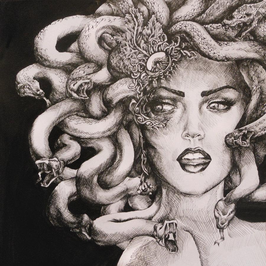 我想找美杜莎素描的头像图片