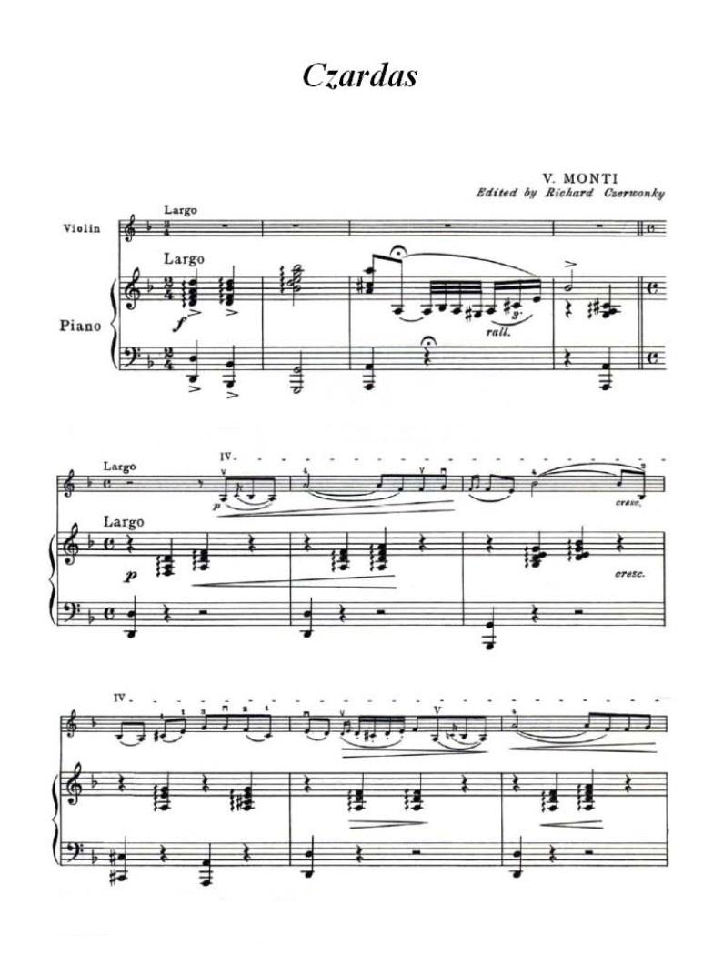 查尔达什舞曲 小提琴谱