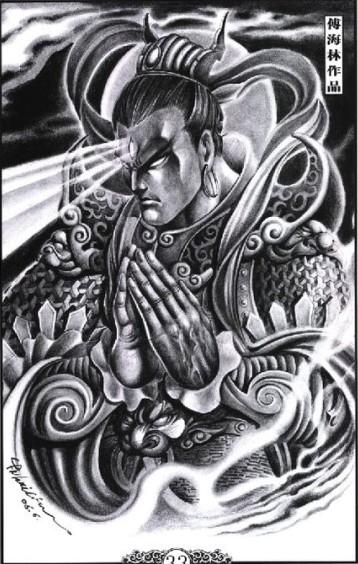 二郎神纹身花臂草稿图片