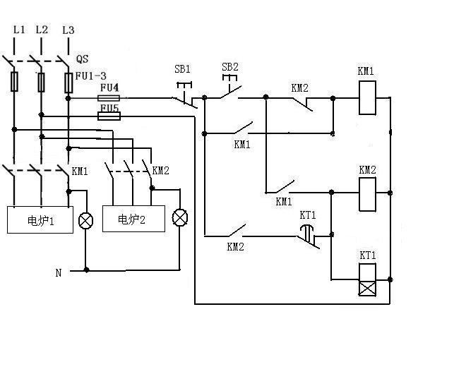单联) sb1sb2是按钮 km1km2是交流接触器 kt1是时间继电器(通电延时型
