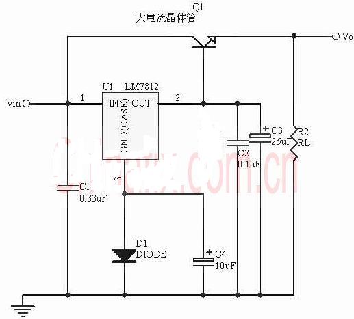 请提供三端稳压电路7805扩大电流的电路图